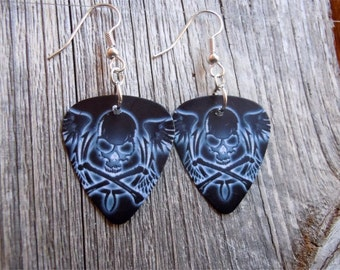 White Skull and Crossbones with Wings Guitar Pick Earrings