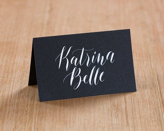 White Ink Calligraphy Place Cards