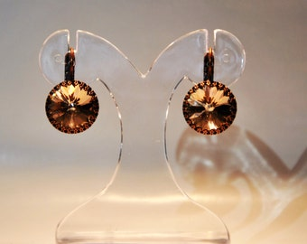 Swarovski copper earrings