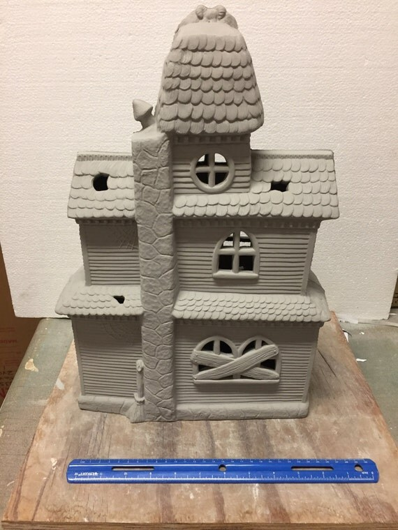 Ceramic bisque large haunted house ready to paint from for Ceramic house paint