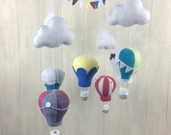 Hot air balloon mobile - baby mobile - crib mobile - baby mobiles- nursery decor - baby crib mobile - bunting - hot air balloon