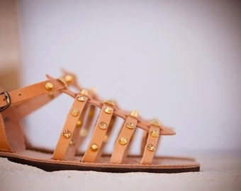 aura collection/gold studs/gladietor/leather/handmade/aelia greek sandals