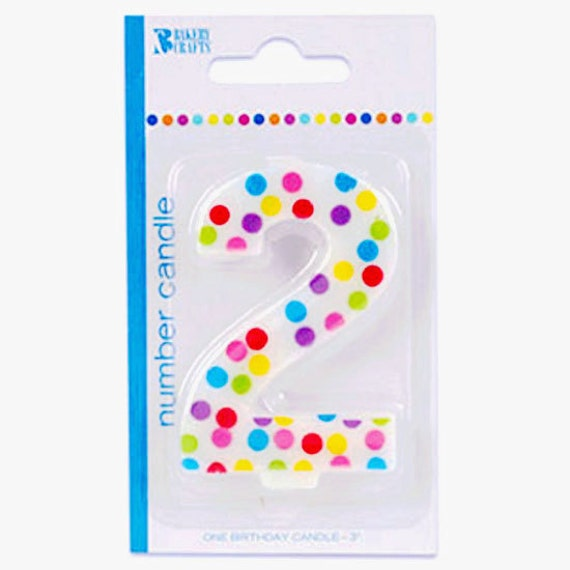 Polka Dot 2nd Second Birthday Cake Candle Decoration Age 2