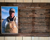 Custom Personalized Photo So God Made A Farmer by Paul Harvey Canvas or Wood Sign - Christmas, Father's Day Gift, Mother's Day Gift, FFA