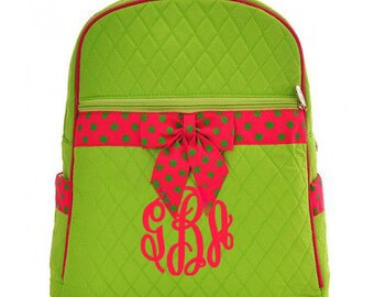 "Personalized Quilted Backpack with Bow - Medium 15"" Lime and Fuschia with Polka Dot accents - QSD2732-LMFS"