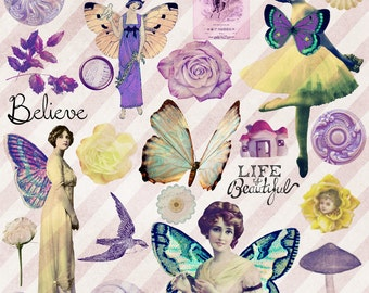 Fairy Art  Digital Collage Sheet  Clip Art  Fantasy  Fairies  Fairy Printables  Vintage ClipArt  Fairy Journal  ClipArt  Mythical  Fae