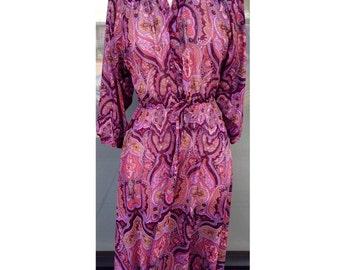 70's sheer paisley print knee length dress - Size Large- burgundy paisley print dress