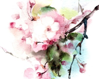 Watercolor Painting Art Print, Cherry Blossoms Painting, Pink Green Watercolour Wall Art