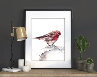 Bird Watercolor Print, Sparrow Painting, Watercolor Painting Art Print, Bird Art, Wall Art Decor