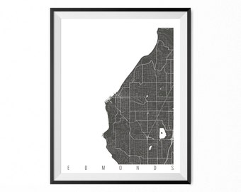 EDMONDS Map Art Print / Edmonds City Poster / Edmonds Wall Art / Washington/ Gift / Washington home decor