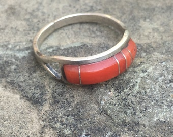 Vintage Sterling Silver and Coral Inlay Ring