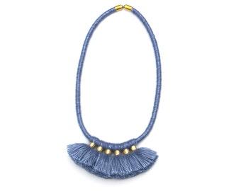 Tassel Fringe  Necklace, Fiber Tassel Necklace, Wool Necklace, Textile Necklace, Modern Necklace, Tassel Jewelry, Statement Necklace