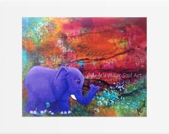 Elephant print - Elephant wall art - Kids wall art - Elephant nursery art - Elephant home decor - Elephant gifts - Jungle animal art prints