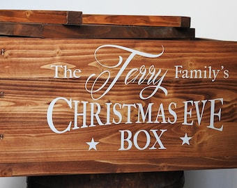 Big Christmas Eve Box. rustic style Xmas box for families, vintage looking wooden box with lid