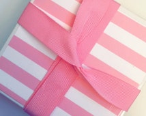 Pink & White Stripe iconic Victoria Secret inspired Ceramic Coaster Set of 4