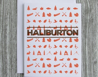 Haliburton - Ontario Cottage Country - Letterpress Blank Greeting Card on 100% Cotton Paper