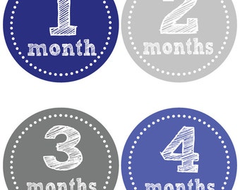 Blue & Grey Baby Milestone Stickers - Baby Onesie Stickers - Baby Belly Stickers - First Year Stickers (558)