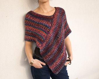 Hand knitted wool womens poncho orange blue red READY TO SHIP