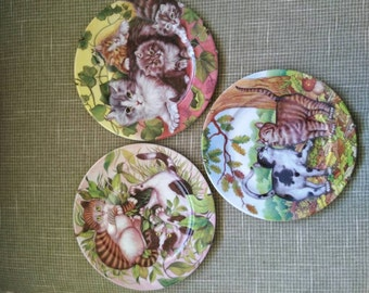 Whimsical Cat Plates