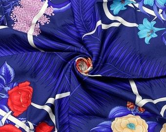 "HERMES SCARF Silk ""Fleurs de l'Opera"" by Julia Abadie 90cm Carre 100% Auth"
