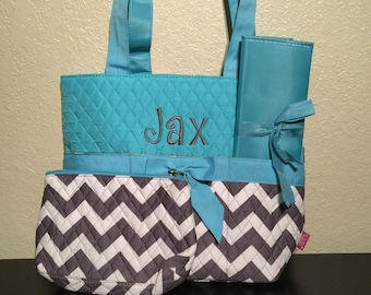 Chevron Print Monogrammed Diaper Bag Gray and White with Turquoise Trim