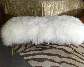 Genuine Mongolian Fur Bench with Hairpin Legs