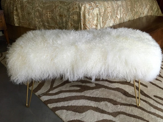 - Genuine Mongolian Ivory Fur Bench With Hairpin Legs