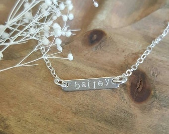 Sterling silver Kids bar necklace / handstamped / personalized/ baby gift / custom jewelry / simple / gold filled