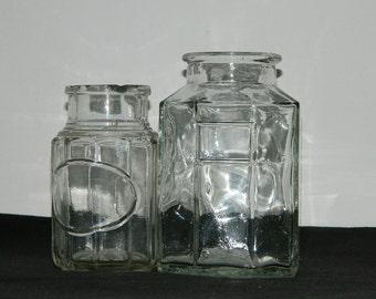 vintage, Glass pot.  2 old glass jars