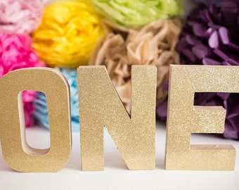 Custom ONE Photo Prop • First Birthday Decor • Photographer Prop • Decorated ONE Letters • Cake Smash Prop • Stand Up Paper Mache Letters