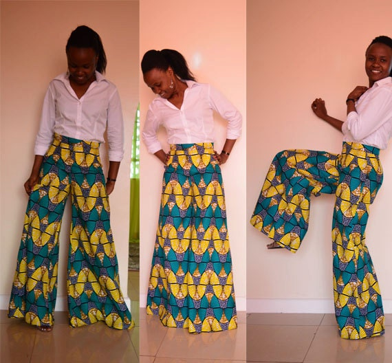 Wide leg African print pants. Bell bottom pants. Vintage
