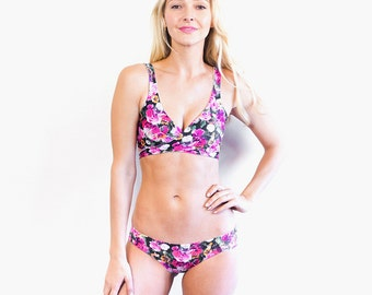 Beautiful Bouquet / Prepster Polk-A-Dot Reversible Wrap Bikini Top