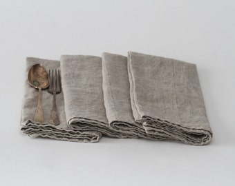 Set of Linen Napkins (Large) - Natural Flax