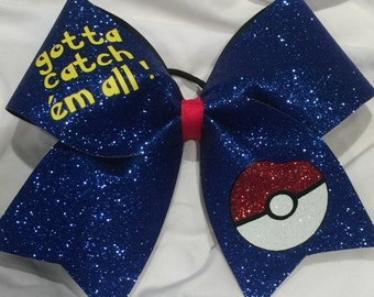 "3 inch width ""TEXAS or CHEER"" size ""Gotta catch em all"" Pokemon bow"