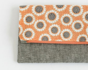 Modern Foldover Linen Clutch | Sunflower and Gray Linen Clutch | s/f Designs
