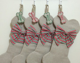 Dog Christmas Stocking / Personalized Dog Stocking / Pet Stocking - Red & Green Chevron