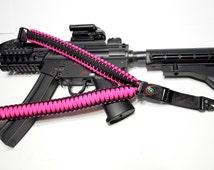 "550 Paracord Rifle Sling with Compass & Flint Firestarter Clasp 50"" Single Point Gun sling (Hot Pink / Black)"