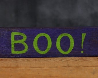 Halloween Wood Sign, Boo Wood Sign, Halloween Decor, Hand Lettered Sign, Primitive Halloween Decor, Rustic Wood Sign, Purple Halloween Decor