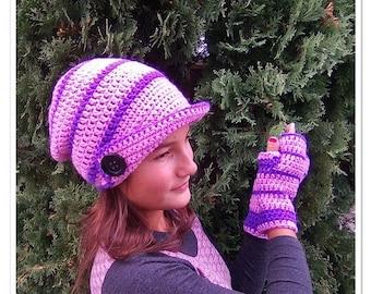 Purple crochet hat, Purple crochet gloves, Set hat and gloves, Crochet women set, Knitted women, Crochet Fingerless  gloves, Teen set