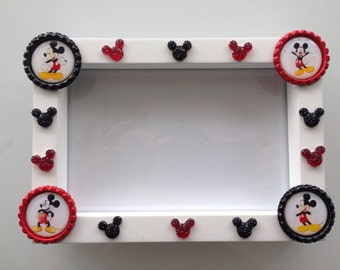 Disney MICKEY Mouse PHOTO FRAME - Hand decorated - to fit 6x4 photo's.