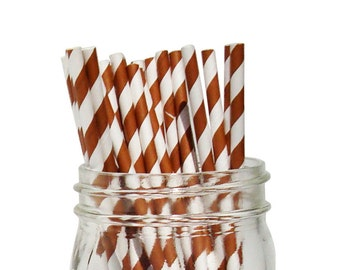 Chocolate Striped Party Paper Straws 25pcs SPS250066 Just Artifacts Brand