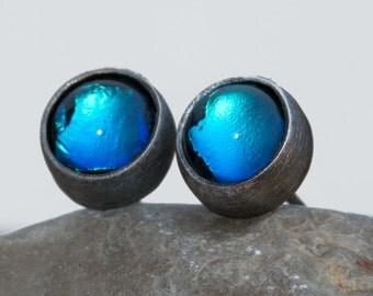 "Silver earrings ""Particles"" dichroic glass,silver,silver aerrings,shine earrings,handmade,boho chic,stud earrings   D024"