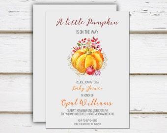 Printable Fall Baby Shower Invitation, Little Pumpkin, Gray, Orange, Fall, Autumn, October, Halloween, November, Floral, MB147