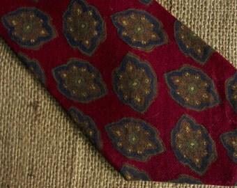 Vintage Liberty of London Tie Red Wool Challis Foulard Necktie