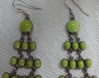 Sterling Silver Dangling Earrings With Green Stones