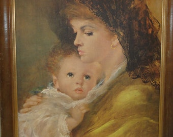 Vintage Mother and Child Print on Board/Signed
