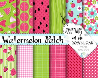 watermelon digital paper pack summer picnic watermelon patch pink green scrapbooking pages summer paper pack digital paper packs