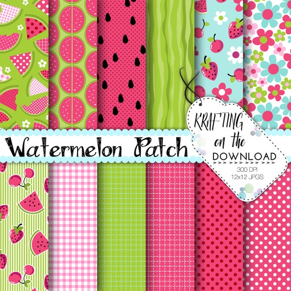 Watermelon Digital Paper Pack Summer Picnic Melon Patch Pink Green Scrapbook Pages Crafting Instant Download Printable