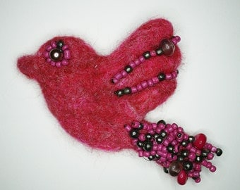 Pink Bird Brooch - needle felted and beaded - Mother's Day gift