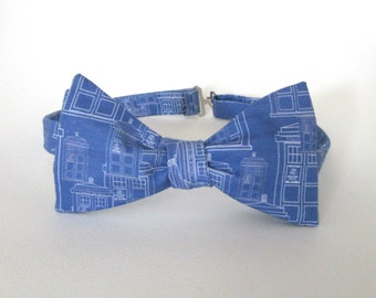 Doctor Who Bow Tie Self Tie Blue Freestyle Adjustable Architecture Dr. Whovian Tardis Child Mens Police Box Necktie Wedding Christmas Gift